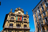 Facade of the City Council of Pamplona. The famous Fiesta of San Fermín is announced every year from the balconies of this building in the center of the city.