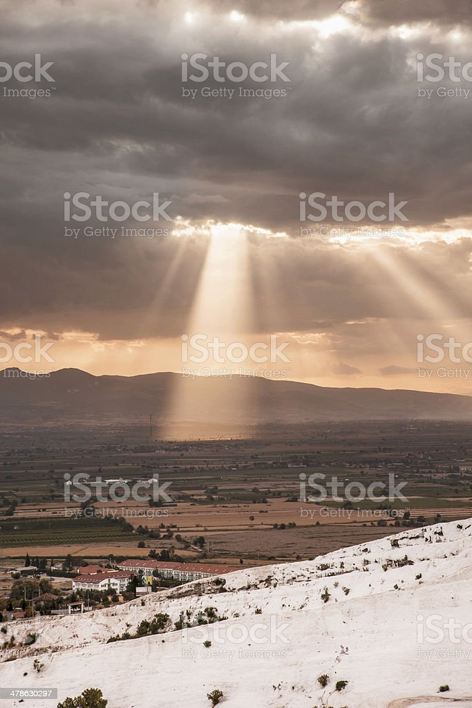 Pamukkale and rays of light stock photo