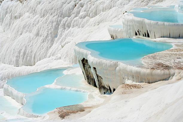 Pamukkale basins stock photo