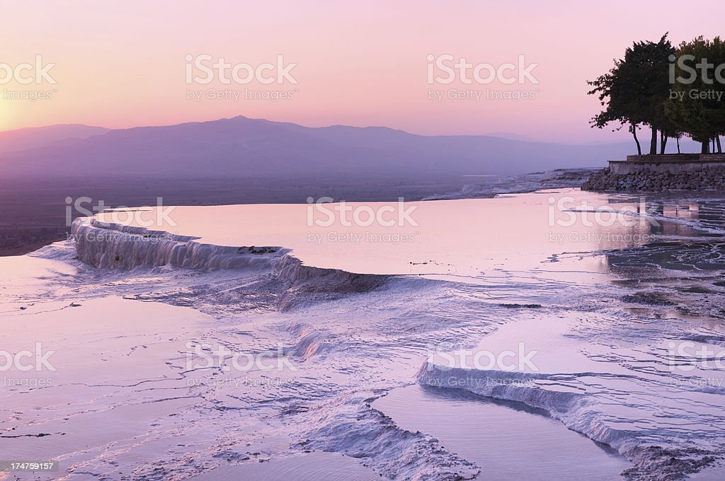 Pamukkale travertine evening stock photo