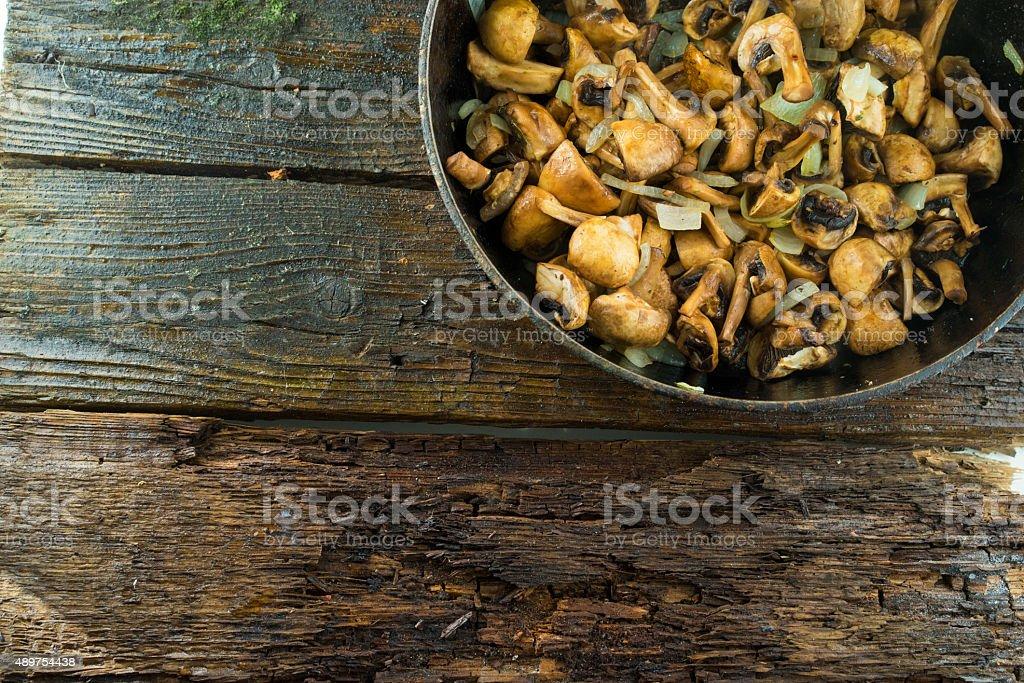 Pan and fried mushrooms stock photo