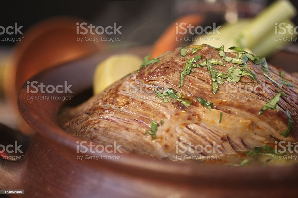 Pan and Meat Detail royalty-free stock photo