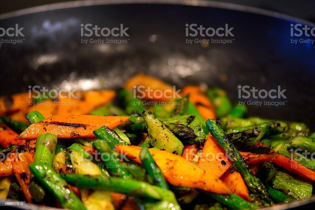 Pan and veggies stock photo