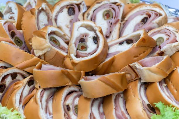 Pan de Jamón. (Ham bread) stock photo
