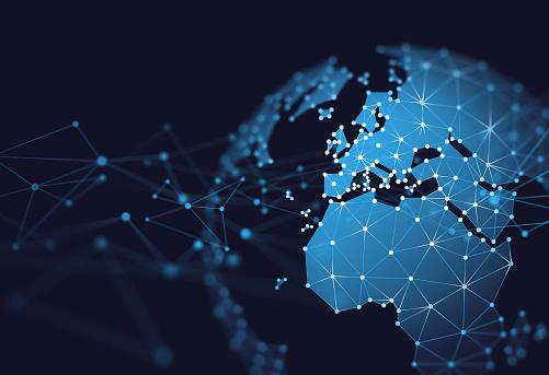 Pan Europe Geometric Network World Map Globe Polygon Graphic Background.