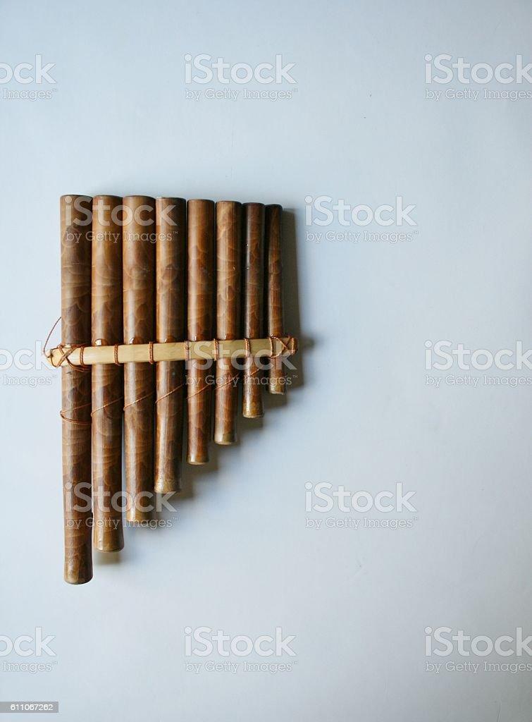 Pan flute or panpipe stock photo