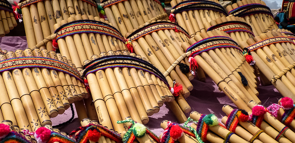 Pan Flutes At A Tourist Market Stock Photo - Download Image Now
