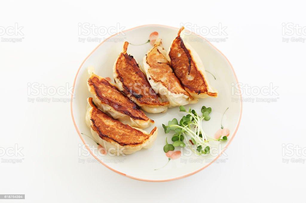 Pan fried dumplings stock photo