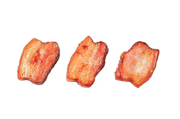 pan de sal de cerdo frito piezas - tocino fotografías e imágenes de stock