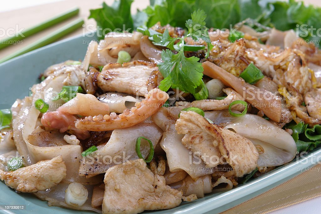 Pan Fried Rice Noodle with Chicken royalty-free stock photo