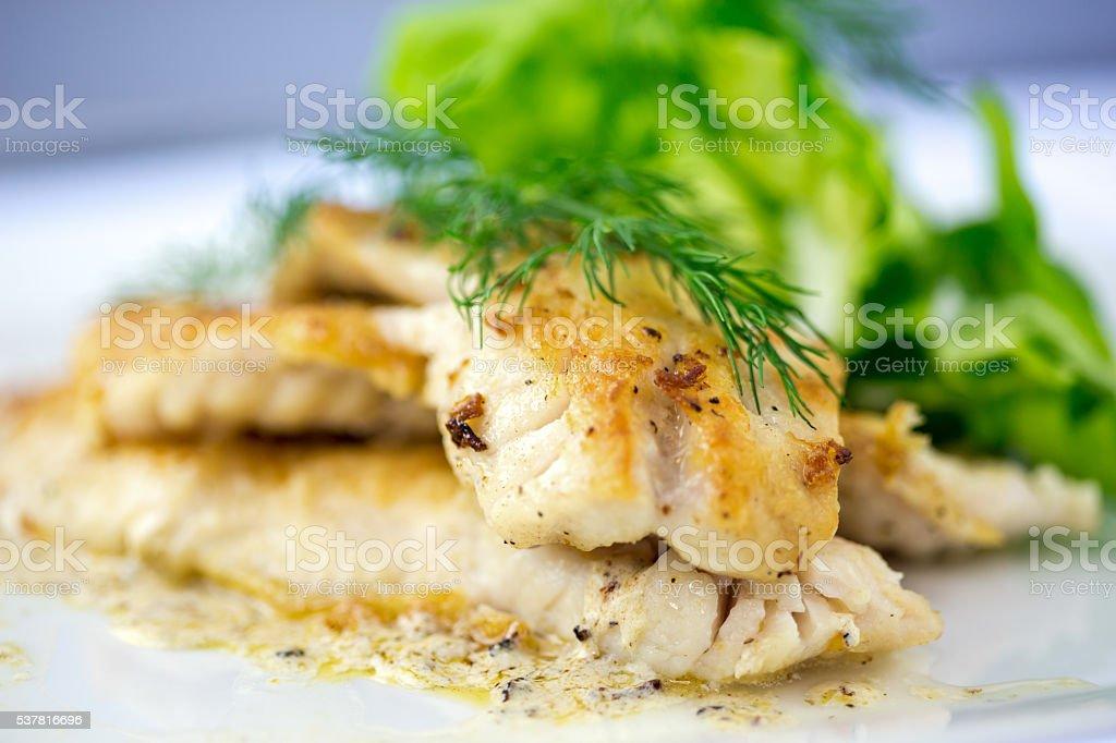 Pan Fried Rock Fish stock photo