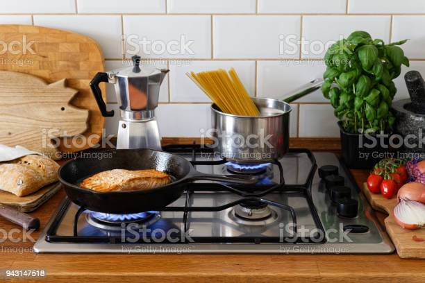Pan fried salmon fillet and spaghetti on a gas stove in traditional picture id943147518?b=1&k=6&m=943147518&s=612x612&h= qbjqngq4velxch23zi8mmq5eyr1thdxogig01vciaq=