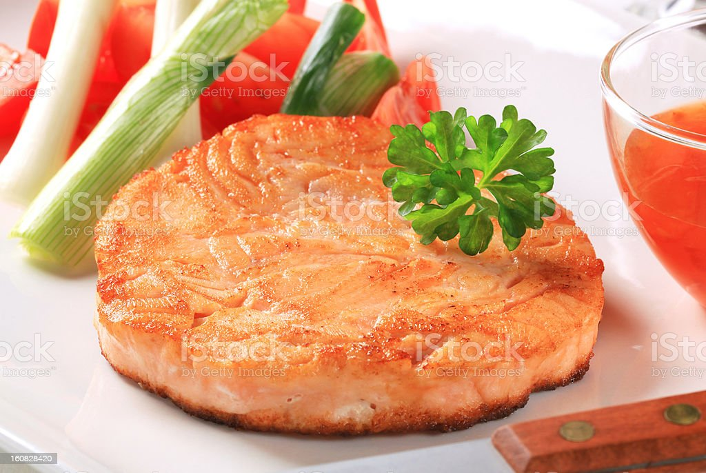 Pan fried salmon royalty-free stock photo
