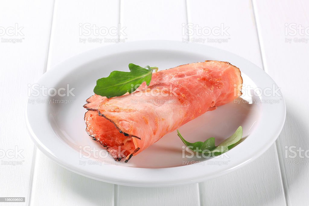 Pan fried slice of smoked ham royalty-free stock photo