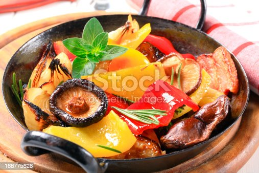 Pan fried vegetables and mushrooms
