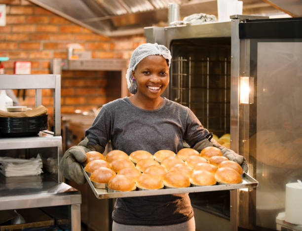 Pan of freshly baked buns stock photo