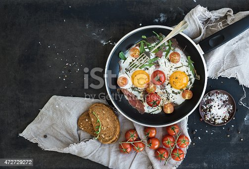 istock Pan of fried eggs, bacon and cherry-tomatoes with bread 472729272