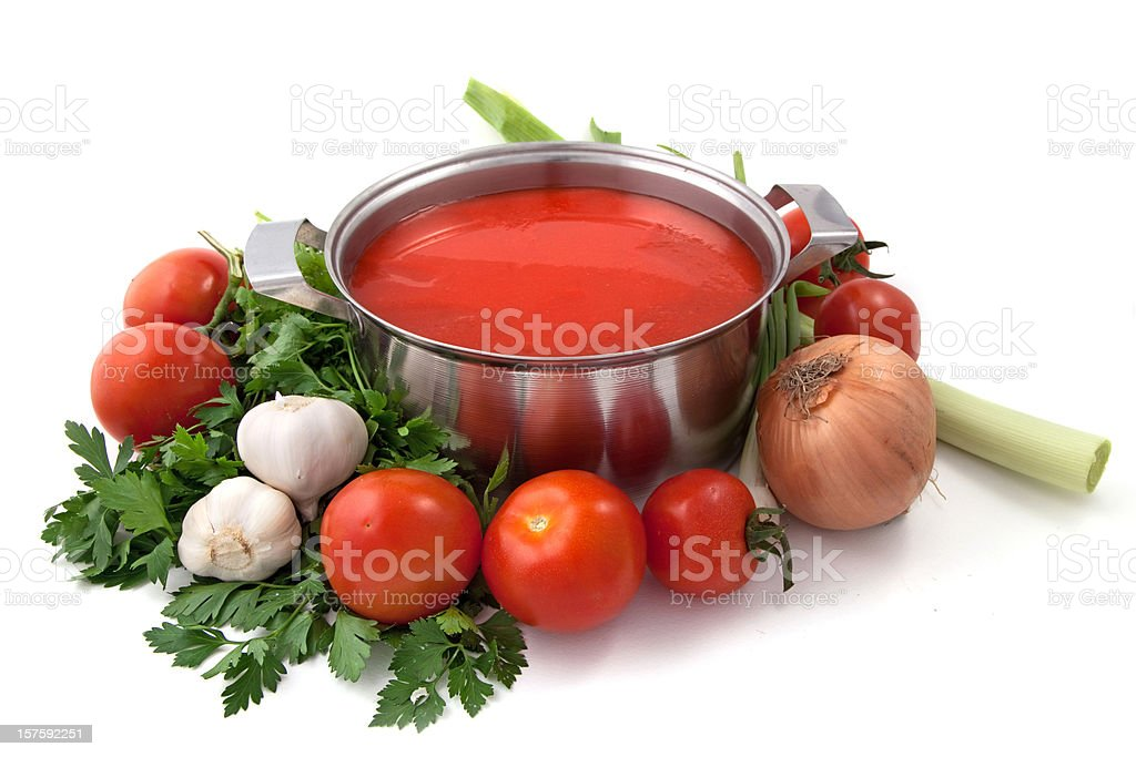 Pan of homemade tomato sauce with vegetables stock photo