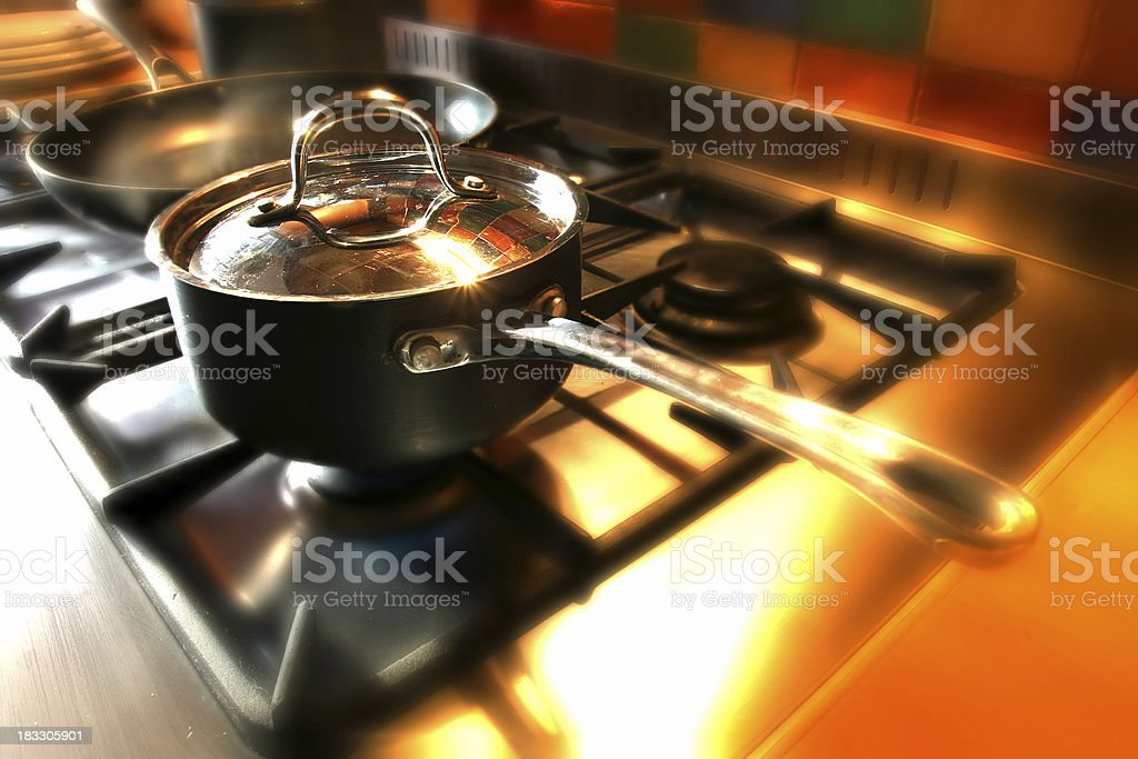 Pan on stove royalty-free stock photo