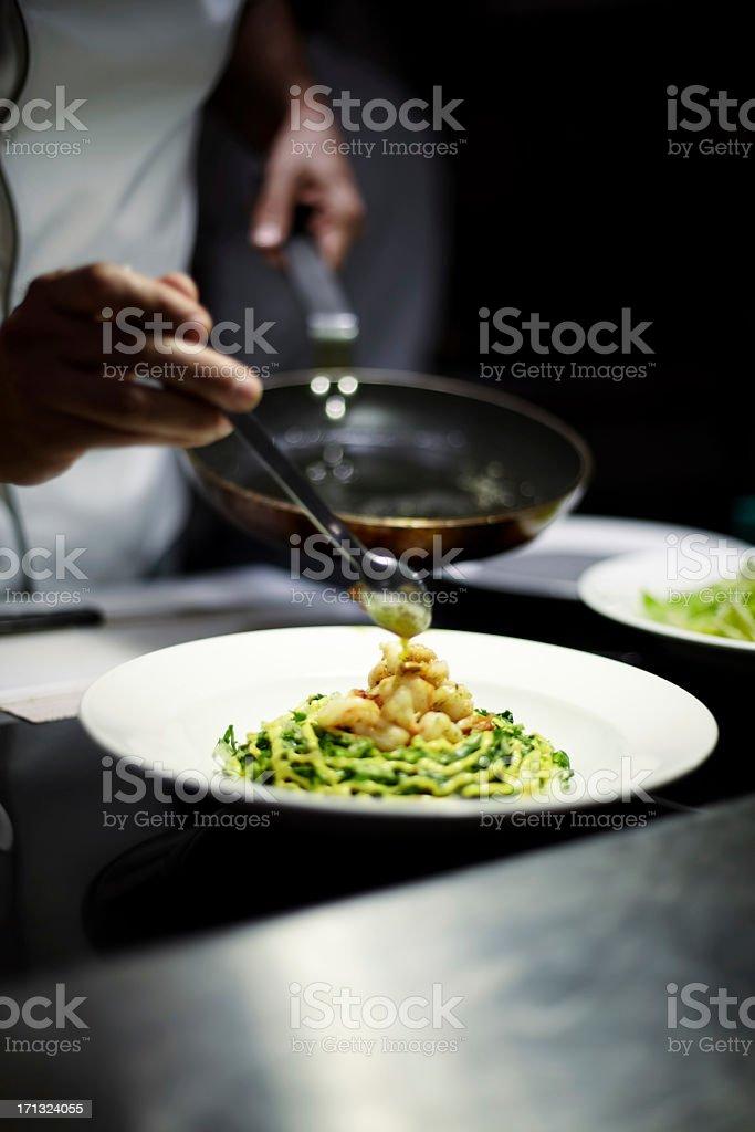 Pan sauteed garlic shrimps stock photo