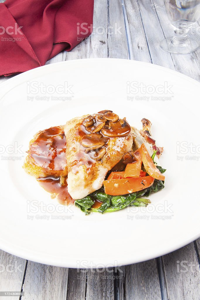 Pan seared chicken royalty-free stock photo