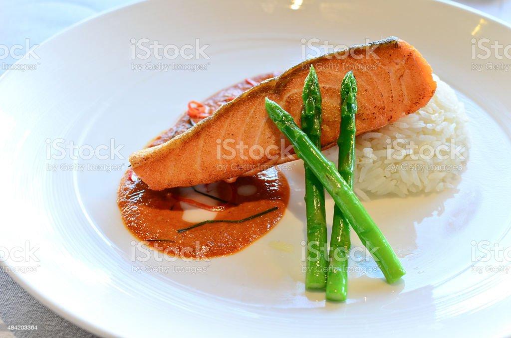 Pan Seared Salmon stock photo