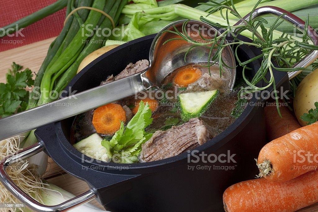 Pan Soup with beef and ingredient royalty-free stock photo