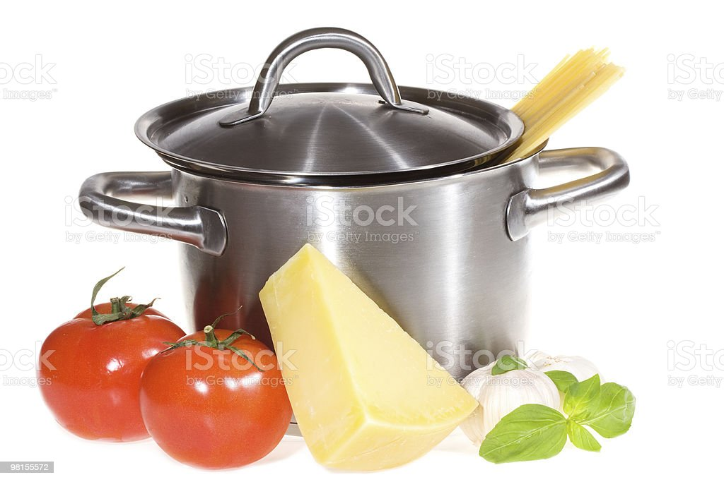 pan with pasta and vegetables royalty-free stock photo