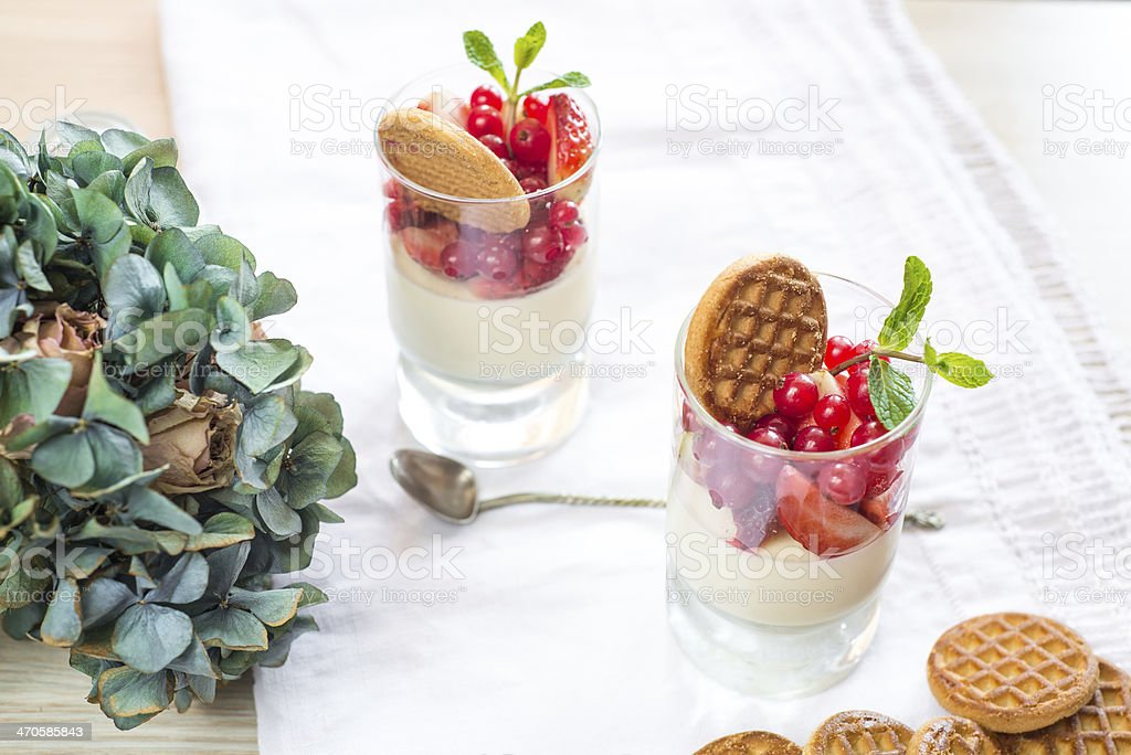 Panacotta in a glass royalty-free stock photo