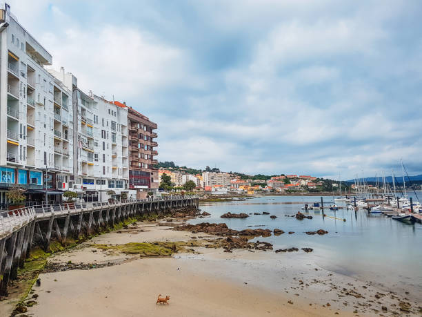 Panadeira beach in Sanxenxo city stock photo