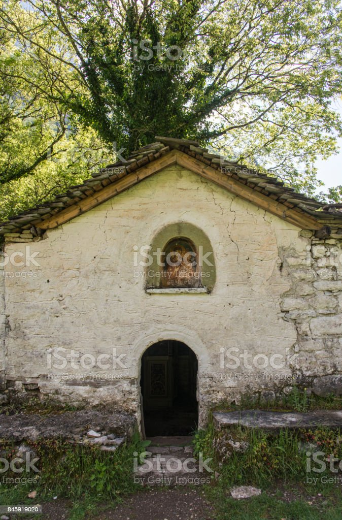 Panagia monastery in Vikos Gorge, Greece stock photo
