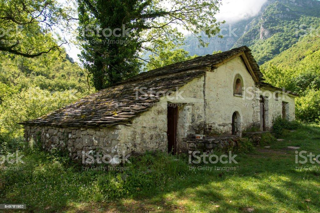 Panagia monastery, Vikos Gorge, Greece stock photo