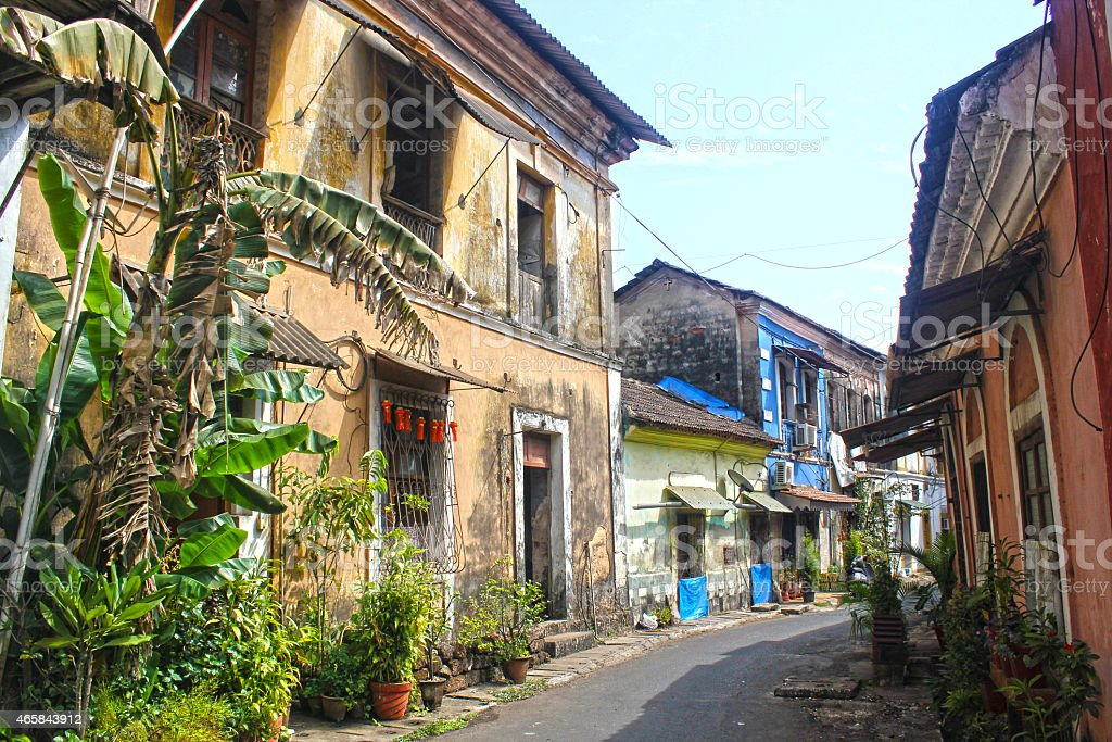Panaji (Panjim): Portuguese-style street, Goa stock photo