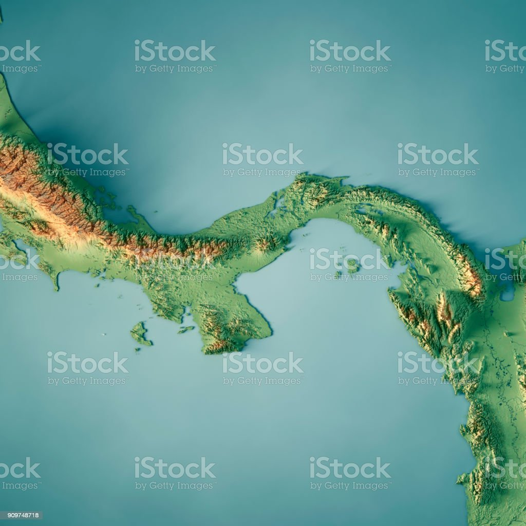 Topographic Map Of Panama.Panama 3d Render Topographic Map Stock Photo More Pictures Of