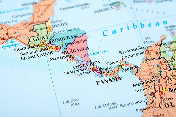 Panama and Costa Rica Map of Middle America central america stock pictures, royalty-free photos & images