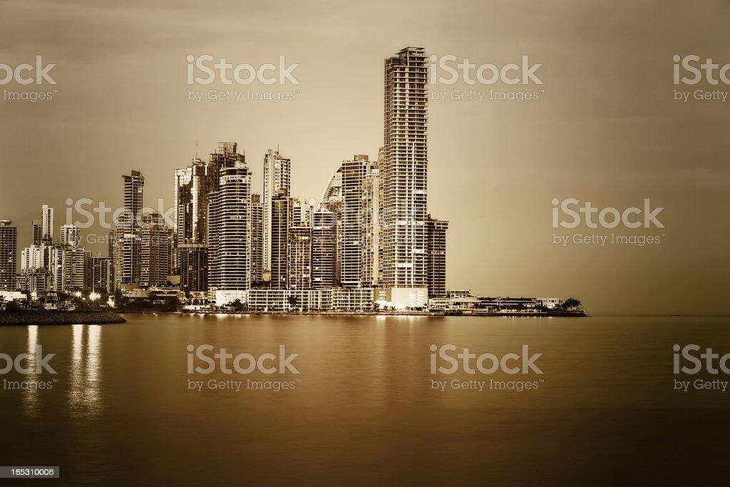 Panama at Night  doutone stock photo
