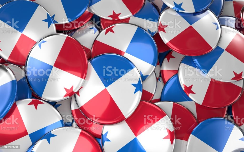 Panama Badges Background - Pile of Panama Flag Buttons. foto de stock royalty-free