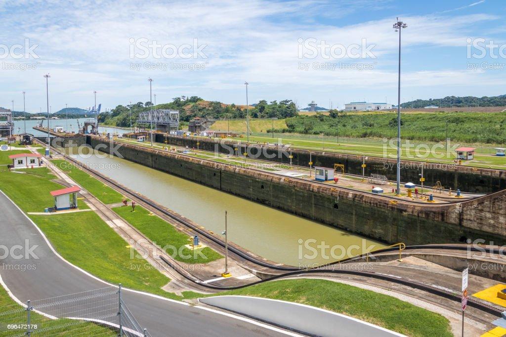 Panama Canal at Miraflores Locks - Panama City, Panama stock photo