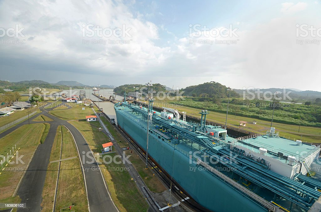 Panama Canal - Freighter in the Locks royalty-free stock photo