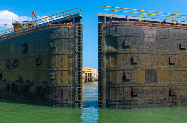 Panama Canal Miraflores Lock, Panama stock photo