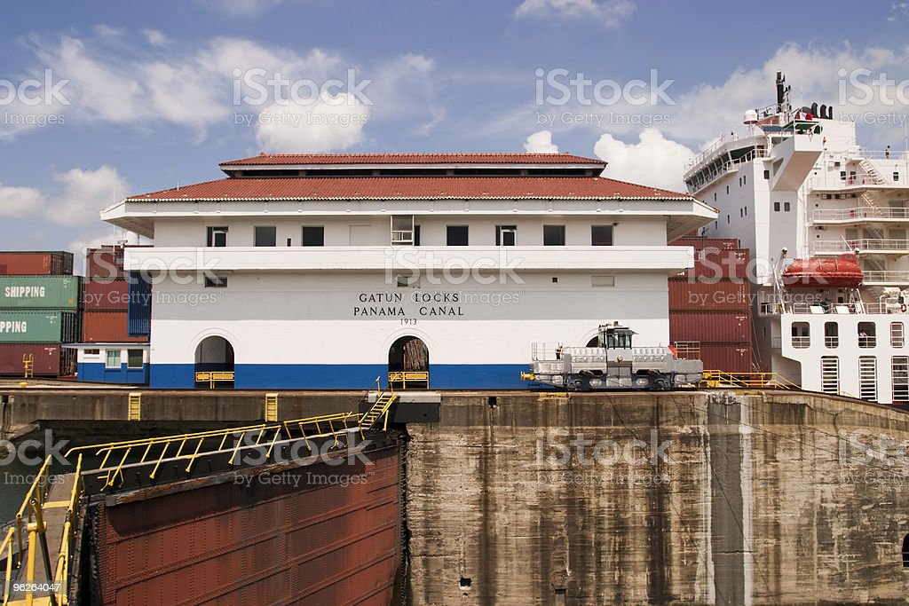 Panama Canal With Ship royalty-free stock photo