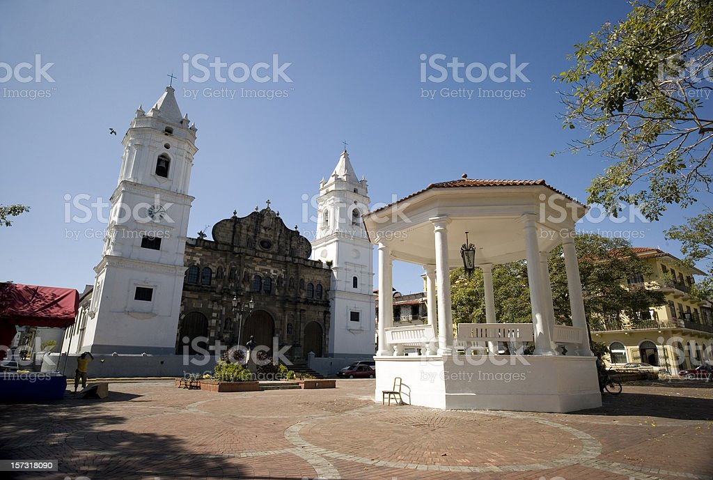 Panama Cathedral Square royalty-free stock photo