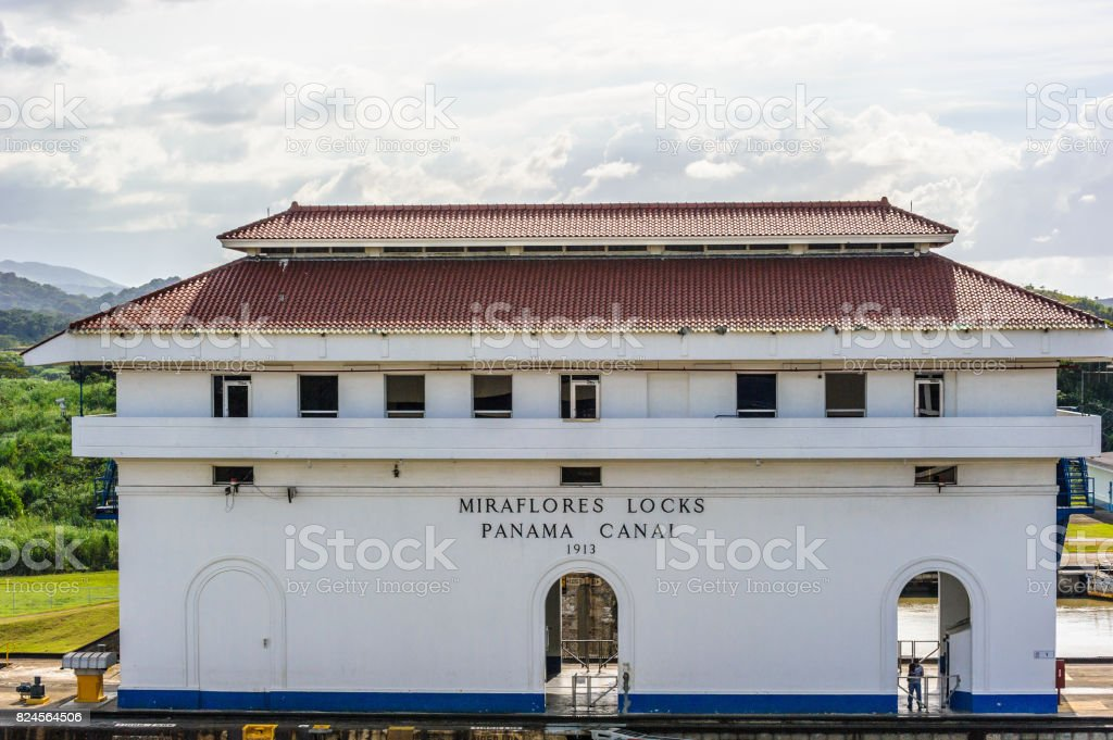 Panama channel (Miraflores locks, Panama canal) stock photo