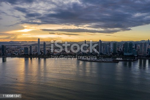 Panama City Aerial view from the sea at sunset