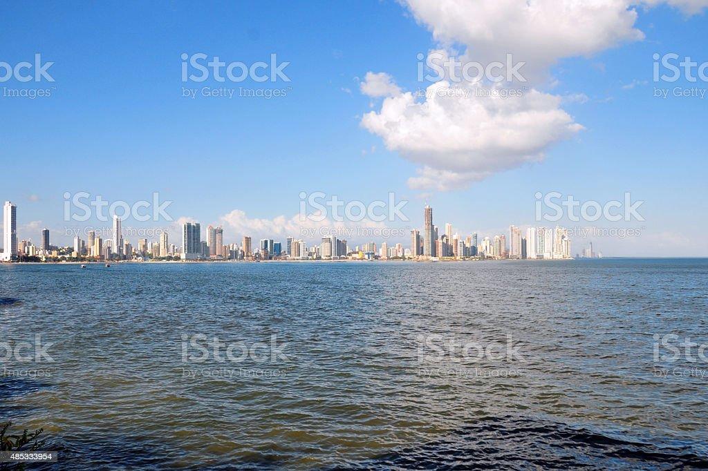 Panama city and the ocean stock photo