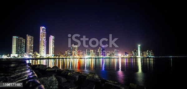 Panama City at night. Reflection of the lights in the ocean