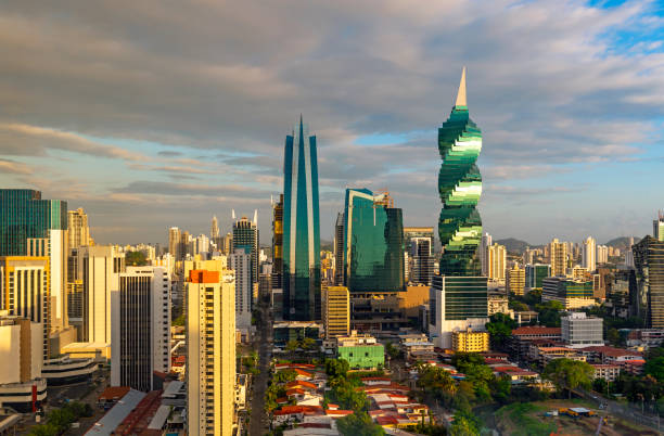 Panama City at Sunrise, Central America stock photo