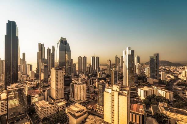 panama city at sunset, panama stock photo