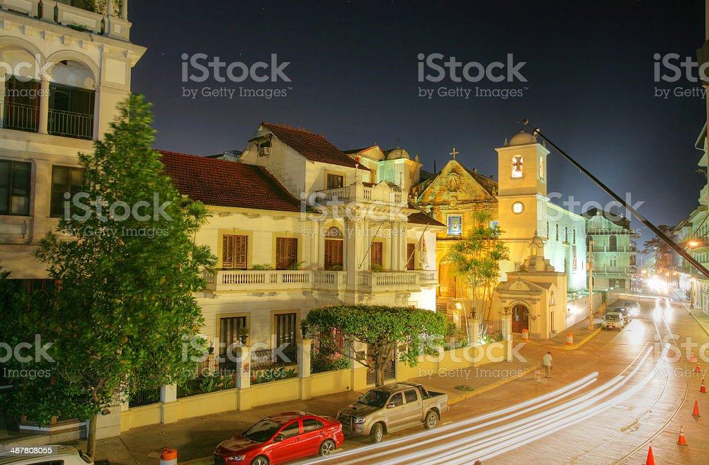 Panama City, Casco Viejo in the night stock photo
