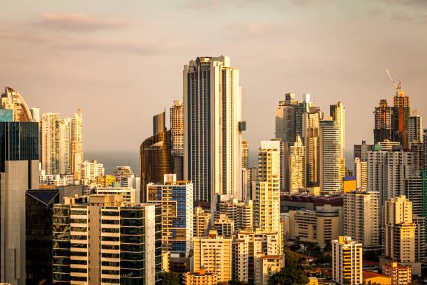 panama city downtown skyline at sunset, panama stock photo